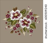 frame flowers embroidery patch... | Shutterstock .eps vector #600509240