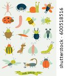 cute insects in vector set | Shutterstock .eps vector #600518516