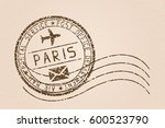 paris mail stamp. old faded... | Shutterstock .eps vector #600523790