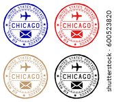 chicago mail stamps. colored... | Shutterstock .eps vector #600523820