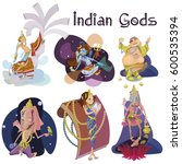 set of isolated indian gods... | Shutterstock .eps vector #600535394