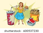 pop art woman and fast food | Shutterstock .eps vector #600537230