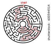 circle maze with solution....   Shutterstock .eps vector #600544514