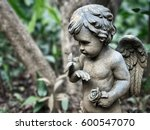 Angelic Cherub With Bird Stone...