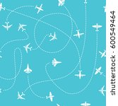 plane travel seamless pattern.... | Shutterstock .eps vector #600549464