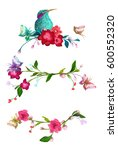 colorful flowers and butterfly... | Shutterstock .eps vector #600552320