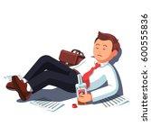 drunk bankrupt unemployed... | Shutterstock .eps vector #600555836