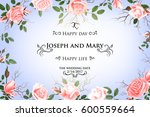 postcard with delicate flowers... | Shutterstock .eps vector #600559664