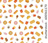 vector pattern with fast food... | Shutterstock .eps vector #600561170