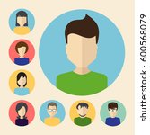 set of male and female faces... | Shutterstock .eps vector #600568079
