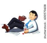 drunk asian business man lying...   Shutterstock .eps vector #600570608