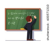 rear view of man teacher or... | Shutterstock .eps vector #600571310