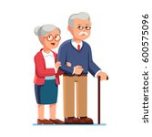 old senior man and woman in... | Shutterstock .eps vector #600575096
