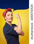 tough and self confident woman... | Shutterstock . vector #600576524