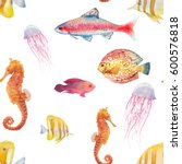 watercolor tropical fish... | Shutterstock . vector #600576818