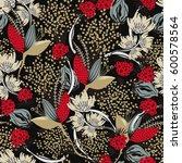 floral seamless pattern. hand... | Shutterstock .eps vector #600578564