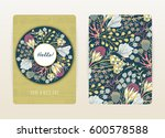 Stock vector cover design with floral pattern hand drawn creative flowers colorful artistic background with 600578588