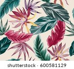 tropical flowers  jungle leaves ... | Shutterstock .eps vector #600581129