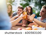 group of young people having... | Shutterstock . vector #600583100