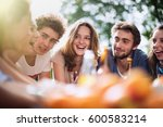 group of students sitting... | Shutterstock . vector #600583214