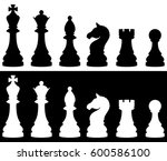 chess pieces icon set  two... | Shutterstock .eps vector #600586100