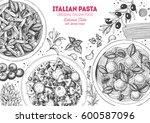 italian pasta frame. hand drawn ... | Shutterstock .eps vector #600587096