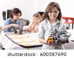 optimistic girl demonstrating... | Shutterstock . vector #600587690