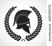 greek spartan helmet with... | Shutterstock .eps vector #600590570