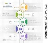 timeline infographics hexagon... | Shutterstock .eps vector #600598463