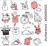 cute rabbits doodle kid set.... | Shutterstock .eps vector #600600410