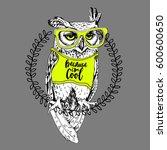 screech owl in the bright t... | Shutterstock .eps vector #600600650