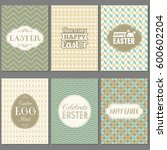 happy easter greeting card set... | Shutterstock .eps vector #600602204