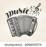 hand drawn classic accordion.... | Shutterstock .eps vector #600603374
