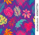exotic leaves and flowers on... | Shutterstock .eps vector #600607754