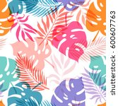 exotic leaves and flowers on...   Shutterstock .eps vector #600607763