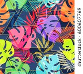 summer exotic floral tropical... | Shutterstock .eps vector #600607769
