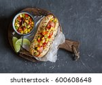 mexican street style hot dog... | Shutterstock . vector #600608648