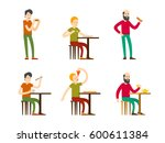 flat eating men set tasting... | Shutterstock .eps vector #600611384