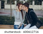 couple in the city love... | Shutterstock . vector #600612716