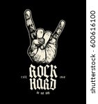 rock hard sign of horns music... | Shutterstock .eps vector #600616100