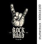 rock hard sign of horns music... | Shutterstock .eps vector #600616100