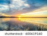 sunset on mekong river. | Shutterstock . vector #600619160