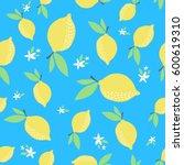 lemon pattern. seamless... | Shutterstock .eps vector #600619310