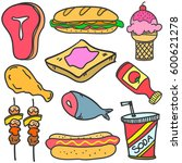 doodle of food and drink set... | Shutterstock .eps vector #600621278