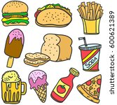 food and drink various of... | Shutterstock .eps vector #600621389