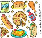 doodle of element food set | Shutterstock .eps vector #600621398