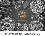 italian pasta frame. hand drawn ...   Shutterstock .eps vector #600630779