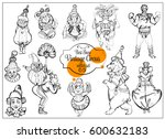 vector retro circus  hand drawn ... | Shutterstock .eps vector #600632183