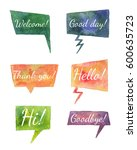 set of dialog boxes with text.... | Shutterstock . vector #600635723