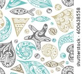 vector ornamental sea pattern   ...   Shutterstock .eps vector #600638558